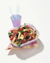 Pasta salad with salami