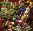 Assorted Christmas baking, Advent wreath, bowl of fruit
