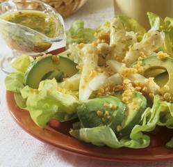 Asparagus and avocado salad with lentil dressing