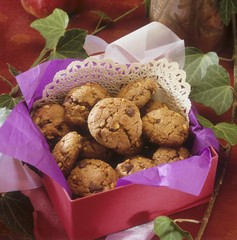 Chocolate nut biscuits in a red box