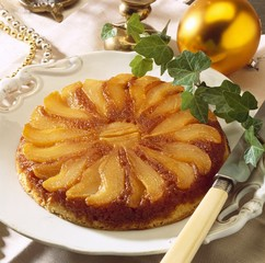 Caramelised pear upside-down cake
