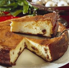 Quark cake with raisins, slices cut