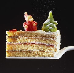 A piece of cream cake with Christmas decorations