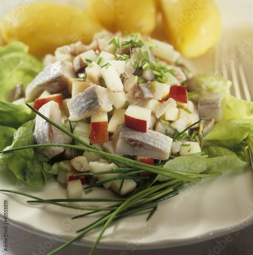 Matjes herring salad with boiled potatoes