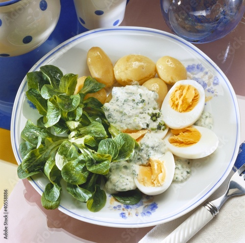 Eggs in herb sauce, boiled potatoes and corn salad