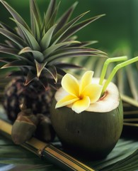 Opened coconut with straws and a pineapple