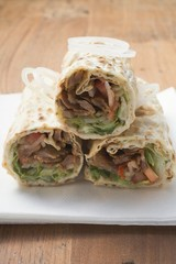 Three Turkish döner wraps