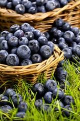 Fresh blueberries in wicker baskets