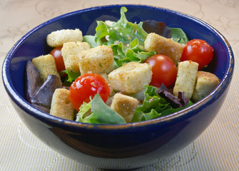 Salad in a blue bowl