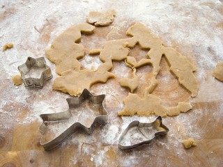 Biscuit dough with biscuit cutters