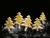 Pastry Christmas trees with pearl sugar