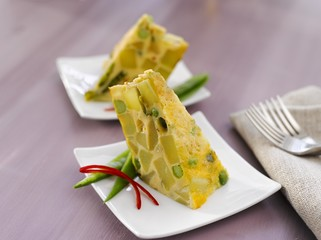 Spanish tortilla with peas and herbs