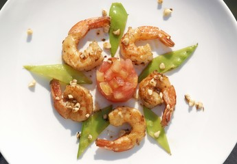 Salted shrimps with almonds, mangetout and tomato tartare