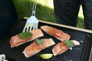Salmon fillets on a grill