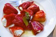 Red peppers stuffed with feta cheese