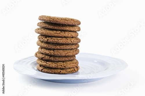 Ginger Cookies Stacked on a Blue Plate