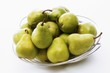 Green pears in a fruit bowl