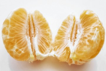 Peeled, halved clementine