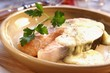 Salmon steak with cheese sauce