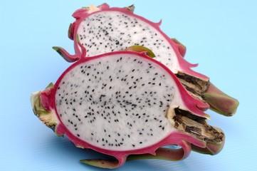Two pitahaya (dragon fruit) halves