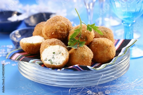 Deep-fried cheese balls