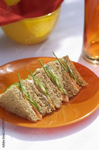 Salmon and cucumber sandwich