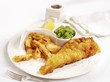 Fish fillet fried in batter with chips and mushy peas