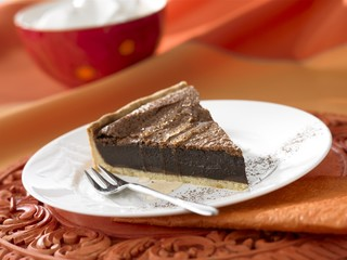 A piece of chocolate tart