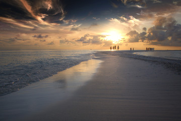 Incredible beautiful sunset on the Maldives