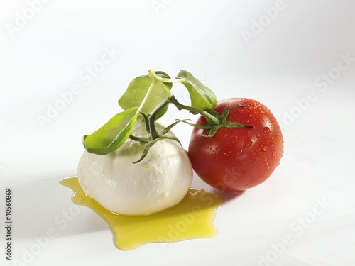 Tomato, mozzarella and basil with olive oil