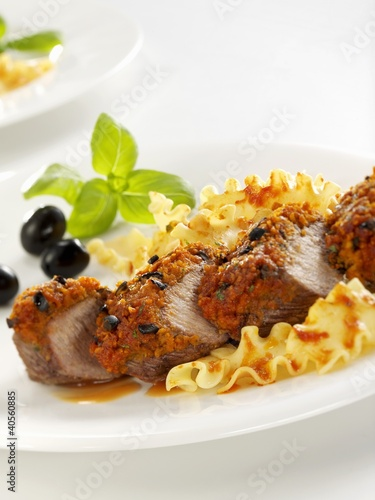 Roast loin of lamb with olive crust