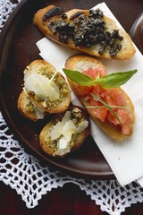 Three bruschettas