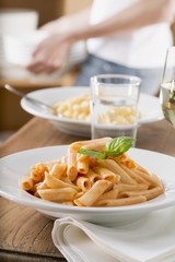 Two pasta dishes