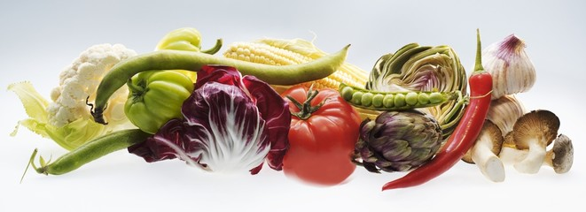 Horizontal strip of different vegetables