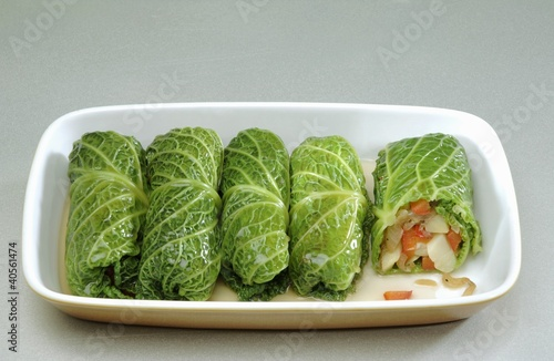 Stuffed savoy cabbage leaves with vegetable stuffing