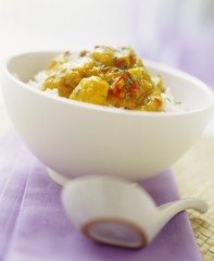 Oriental pumpkin stew on rice