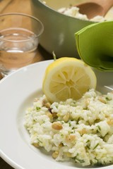 Lemon risotto with herbs and pine nuts