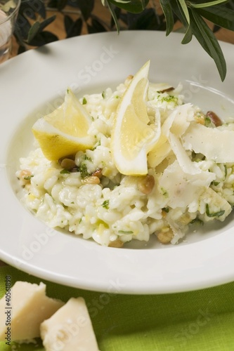 Lemon risotto with herbs, pine nuts and Parmesan
