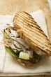 Grilled bread with turkey, cucumber and tomato