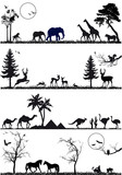 wildlife animal background set, vector