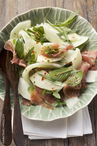 Melon salad with Parma ham and mint