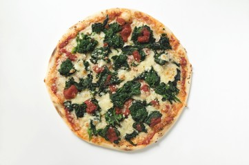 Whole spinach, tomato and cheese pizza