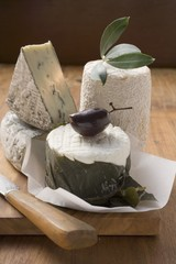 Blue cheese, goat's cheese and olive