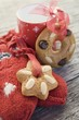 Gingerbread tree ornaments, cup and woollen mitten