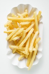 Chips in paper dish (overhead view)