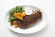 Grilled beef steak with vegetables and dip