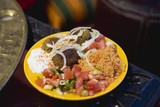 Falafel with couscous, tomato salad & yoghurt (N. Africa)