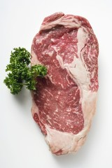 Beef steak, garnished with parsley