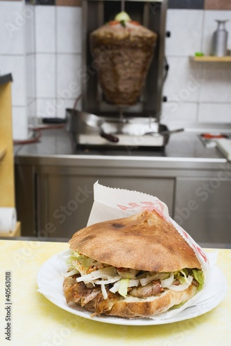 Döner kebab on snack bar counter