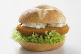 Schnitzel roll with remoulade and lettuce